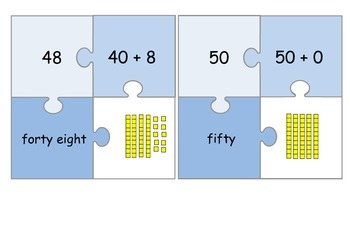 Place Value Jigsaw 1-100 *number, expanded, word & base 10 form*