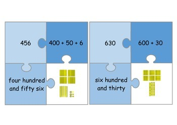 Place Value Jigsaw 100-999 *number, expanded, word & base 10 form*