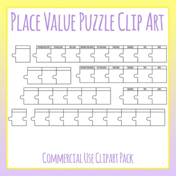Place Value Jigsaw Puzzles Clip Art Set for Commercial Use
