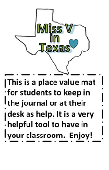 Place Value Journal Page