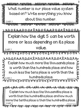 Place Value Journal Response Prompts - Common Core Aligned Grade 5