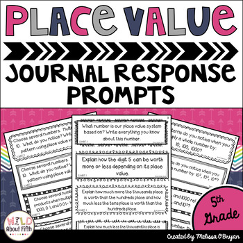 Place Value Journal Response Prompts - Common Core Aligned