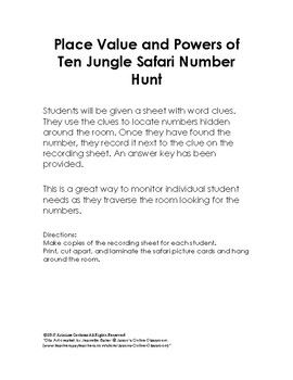 Place Value Jungle Safari Activity
