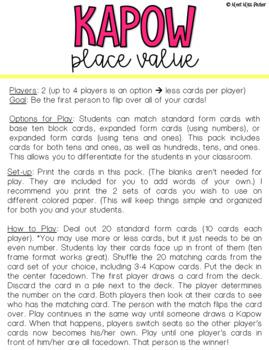 Place Value Kapow - Math Game / Center Common Core