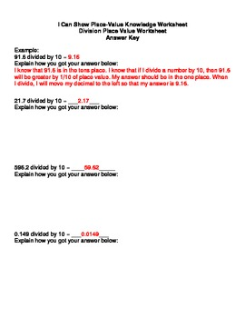 Place Value Knowledge- Division of decimals by 10