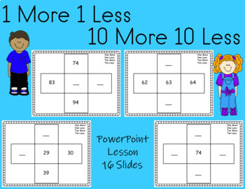 Place Value Lesson  Ten More, Ten Less, One More, One Less Editable powerpoint