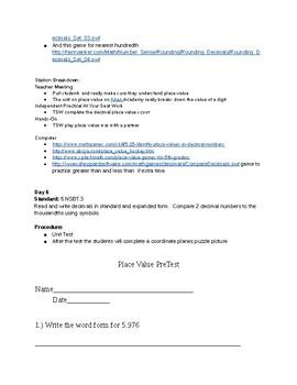 Place Value Lesson Plans 5th grade
