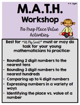 Place Value MATH Workshop No Prep Activities