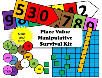 Place Value Manipulative Survival Kit (Print-and-Click)
