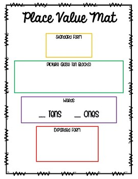 Place Value Mat Numbers 1-99