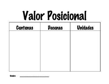 Place Value Mat (Spanish)
