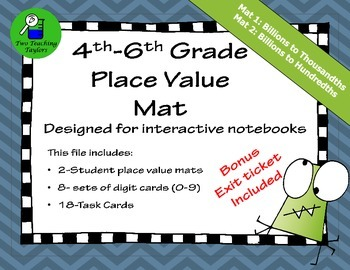 18 Place Value Task Cards with Interactive Mat: Upper Elementary