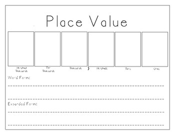 Place Value Mat: Writing in Standard, Expanded, and Written Form