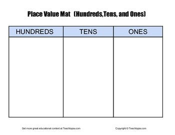 Place Value Mat with Hundreds, Tens & Ones  Place Value w Number Cubes