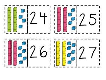 Place Value Match {Base Ten Blocks 1-30}