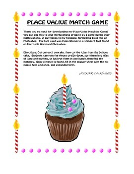 Place Value Match Cupcake Pack