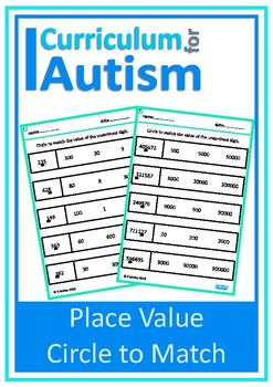 Place Value Match Digits Autism Special Education