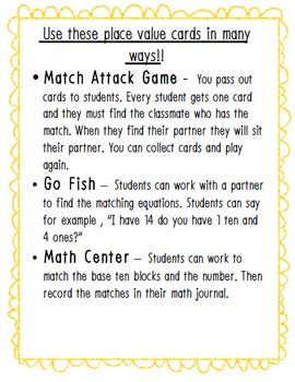 Place Value Match Game