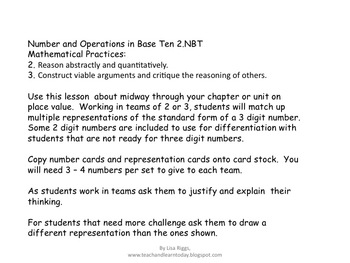 Place Value Match,  Number and Operations in Base Ten 2.NBT