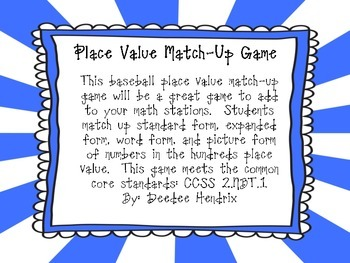 Place Value Match Up Game Two-Digit