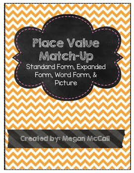 Place Value Match Up:Standard Form, Expanded Form, Word Form, & Picture