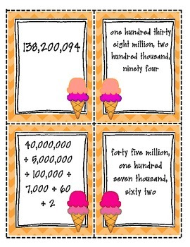 Place Value Match: Whole Numbers Through One Billion (TEKS 4.2B)