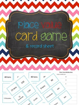 Place Value Card Game with Record Sheet