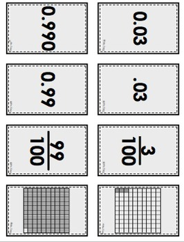 Place Value Matching Card Game (Through Thousandths Model Fractions & Decimals)