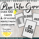 Place Value Games Matching Card (Through Thousandths Model Fractions & Decimals)