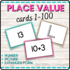Place Value Matching Cards 1-100: Base-Ten Blocks