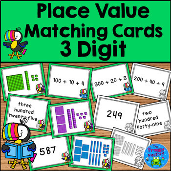Place Value Matching Cards - 3, 4, and 5 Digit Sets