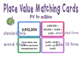 Place Value Matching Cards (up to millions)
