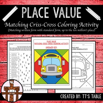 Place Value Matching Criss-Cross Coloring Activity
