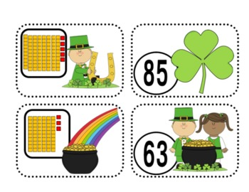 Place Value Matching Game/Flashcards {St. Patrick's Day}