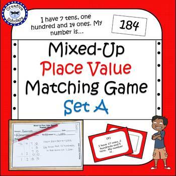 Place Value Matching Math Game Set A