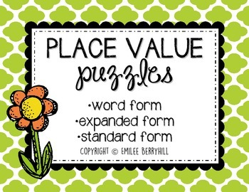 Place Value Center Activity - Word Form, Expanded Form, Standard Form