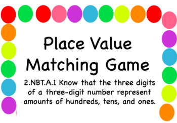 Place Value Matching Task Cards