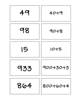 Place Value Matching/Memory Game - Expanded Form