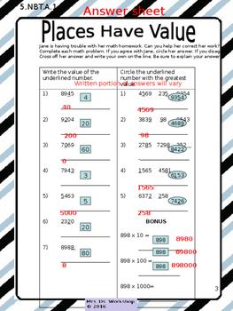 Place Value Math Sample 5th Grade Common Core Aligned