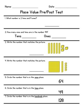 Place Value Math Assessment