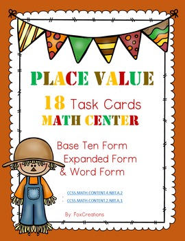 Place Value Math Center Common Core Task Cards