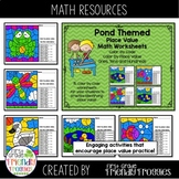 Place Value Math Coloring Sheets - Color by Code - Pond Theme