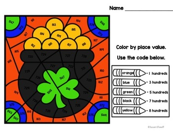 Place Value Math Coloring Sheets - Color by Code for St.Patrick's Day