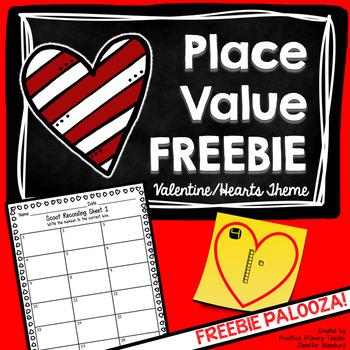 Valentine's Day Place Value Math Game FREEBIE