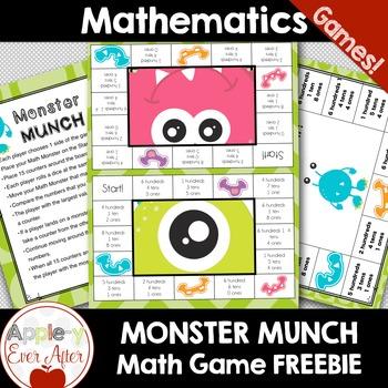 Place Value Math Games! Monster Munch Board Game (HUNDREDS) Sampler