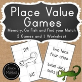 Place Value Math Games for K-3 Go Fish, Memory and Find yo