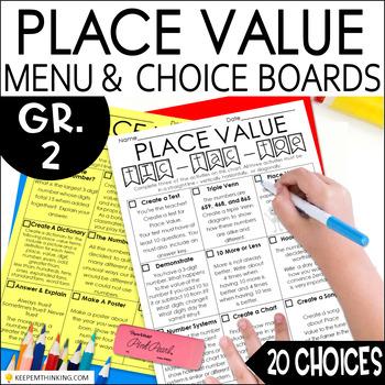 Place Value Math Menu, Choice Board, Tic-Tac-Toe 20 Choices