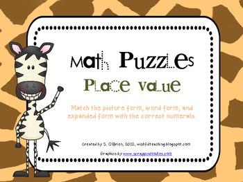 Place Value Math Puzzles (15 different puzzles)