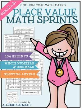 Place Value Math Sprints (Grades 3 to 6)