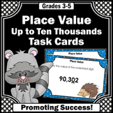 5 Digit Place Value Task Cards 4th Grade Math Review Game, Ten Thousands